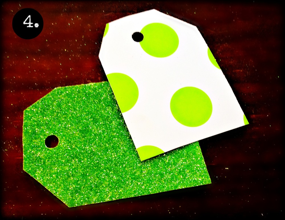 cut the corners off your squares/rectangles & use a hole punch to make hole as centered as possible. This image is to show both front & back of tag.  Did I mention you're  making tags?