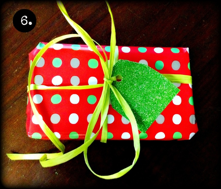 The flashier the tag, the less need for expensive bows. I bought this green raffia for $5.  I don't think raffia ever runs out…at least, not in my house.