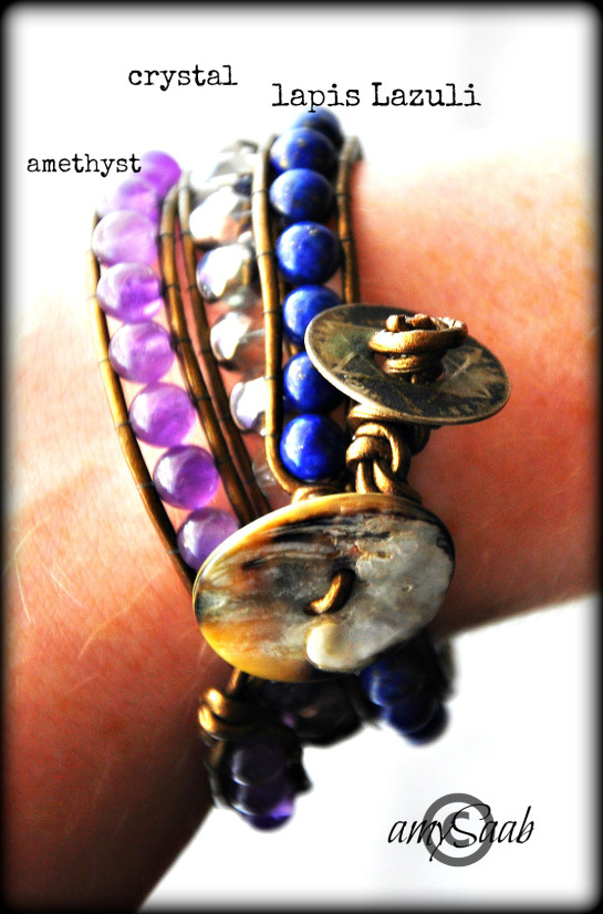 I suffer from chronic pain. Broken pelvis…I have a wonderful friend who makes bracelets.  I asked her to make me one for my birthday.  I chose the beads for a reason.  These make me brave. Crystal= healing Lapis Lazuli=power, vision, honor & spirit Amethyst=power, protection & healing. AND my birthstone. I look for answers everywhere, as do all who suffer from chronic pain.  I may sound crazy to some. It helps me feel like a knight putting on my armor. I find the world wide common history of stones & gems incredible.  I would recommend to anyone who suffers from anything, to request stones meant for you to make you stronger.   Besides, its really beautiful.  Thank you Suzanne.