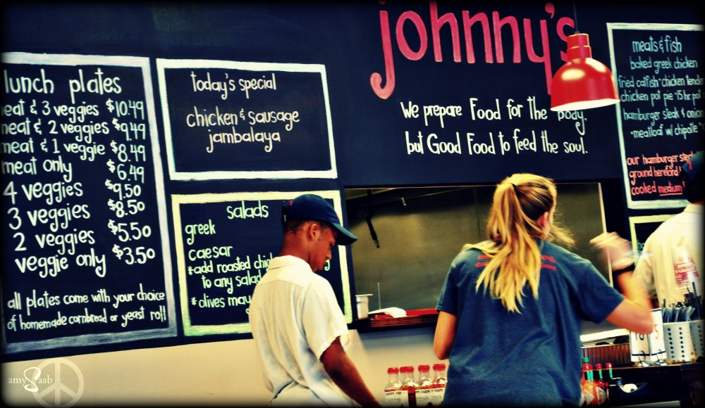 our lunch yesterday was at Johnny's. it used to be a sandwich shop. but is now a Southern meat & three