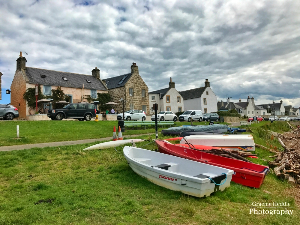 Boats on the shore at Findhorn Village, Highlands