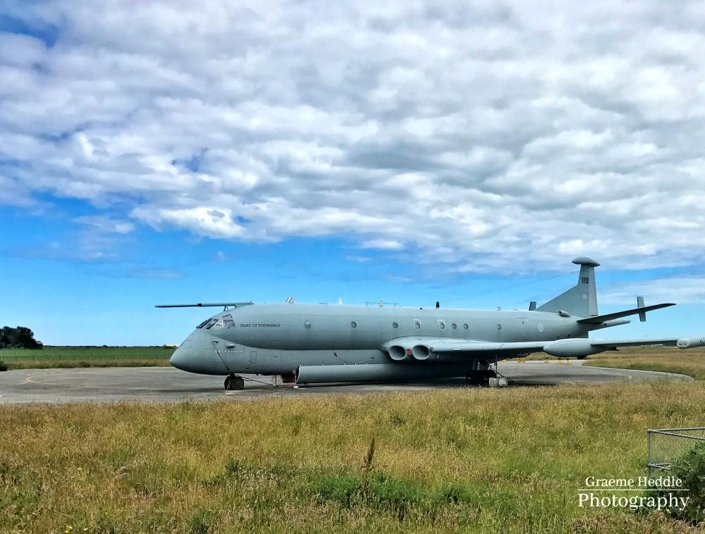 RAF Nimrod at former airbase, Kinloss Highlands,